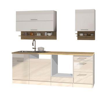 Küchenzeile münchen vario 1 küchen leerblock breite 220 cm hochglanz weiß