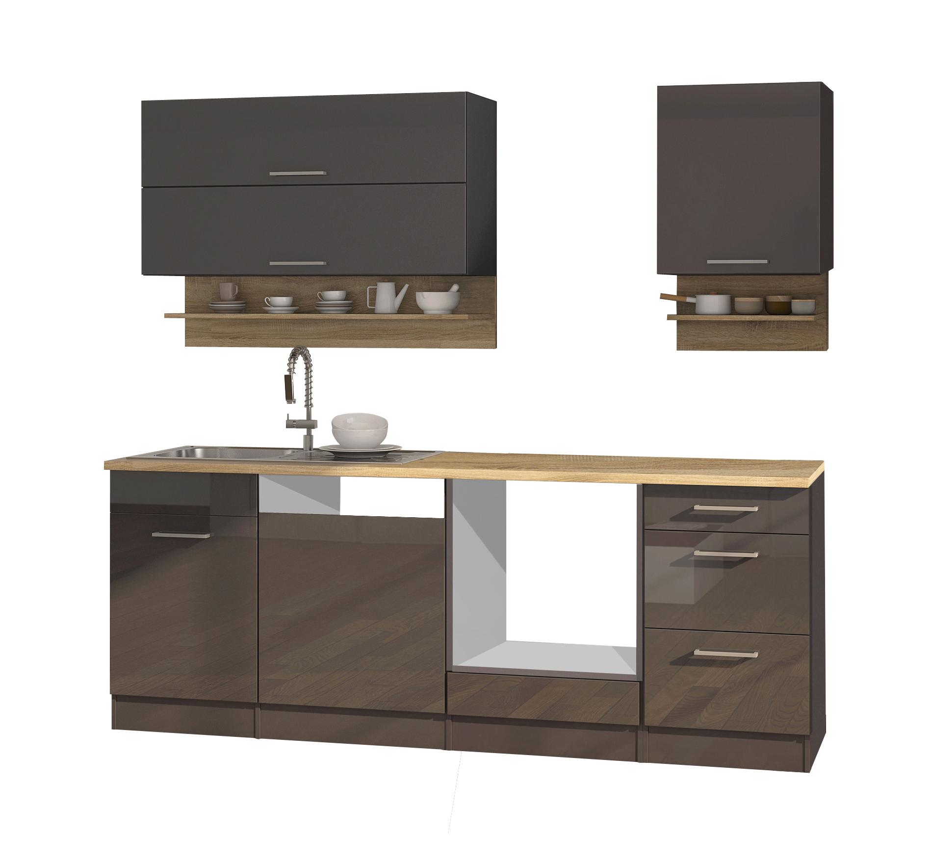 k chenzeile m nchen vario 1 k chen leerblock breite 220 cm hochglanz grau graphit. Black Bedroom Furniture Sets. Home Design Ideas