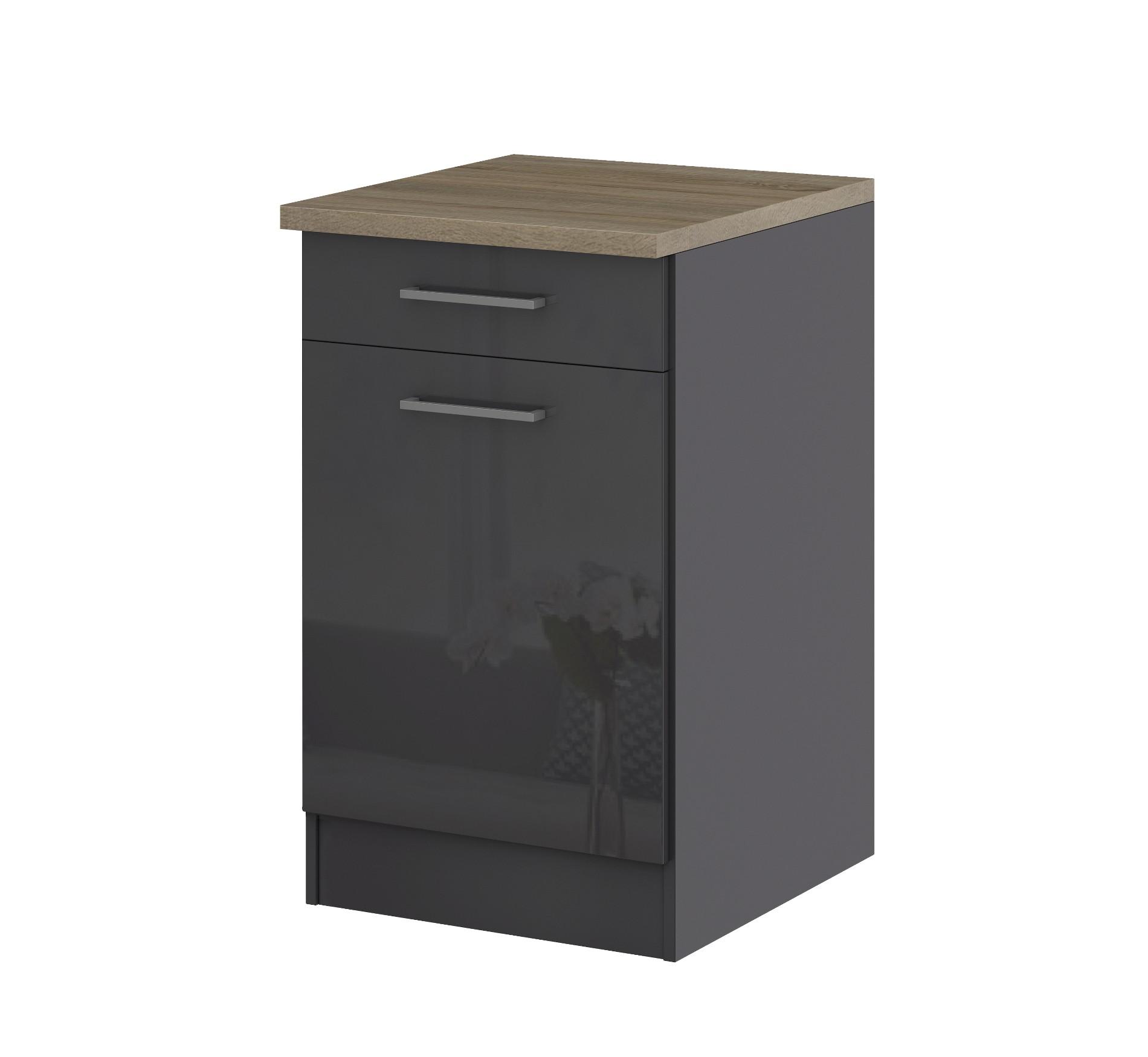 k chen unterschrank m nchen 1 t rig 50 cm breit hochglanz grau graphit k che k chen. Black Bedroom Furniture Sets. Home Design Ideas