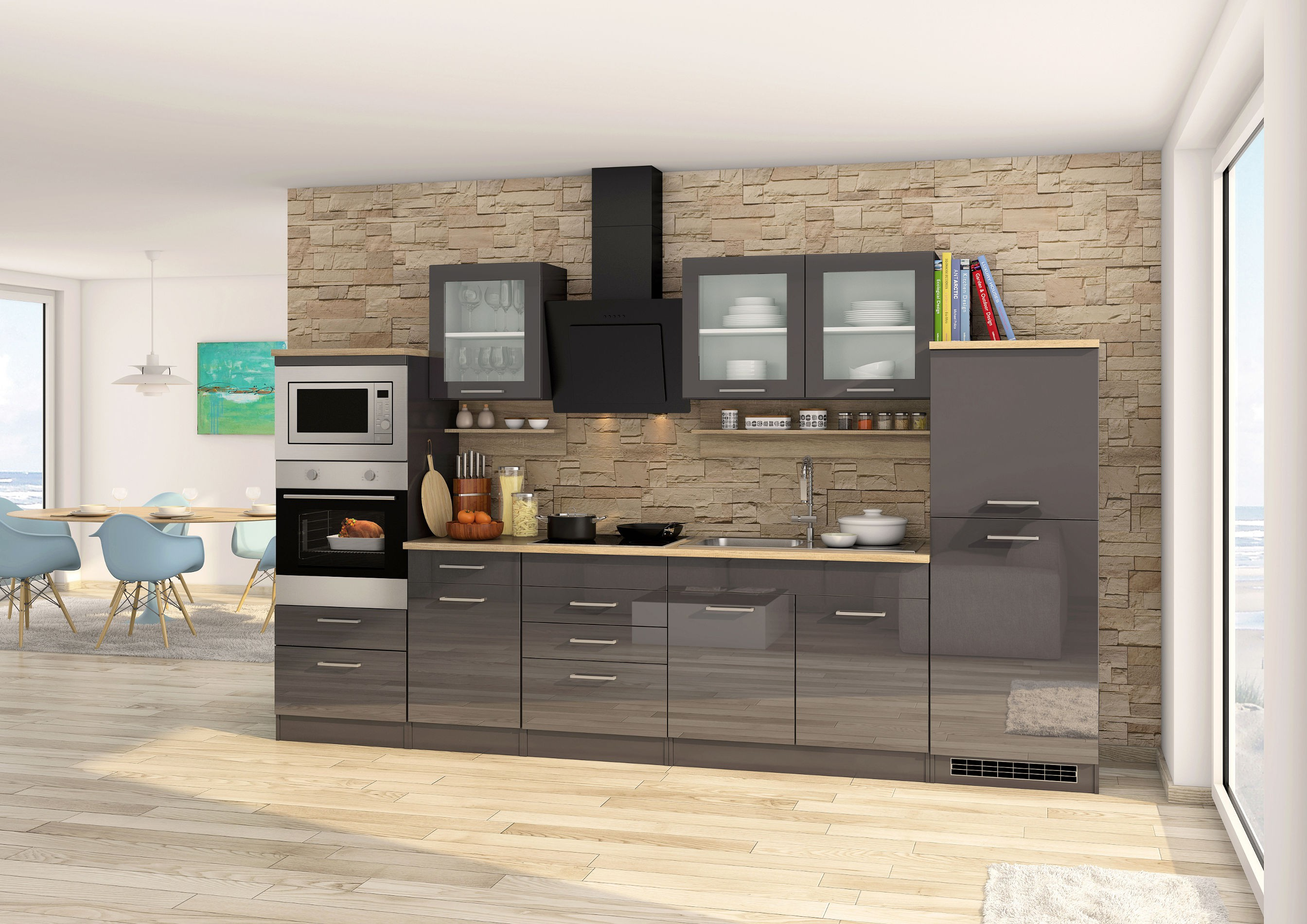 k chen unterschrank m nchen 2 ausz ge 1 schublade hochglanz grau graphit k che k chen. Black Bedroom Furniture Sets. Home Design Ideas