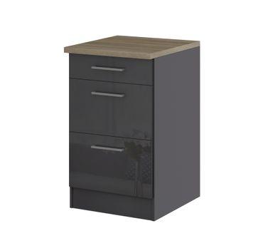 Küchen-Unterschrank MÜNCHEN - 2 Auszüge, 1 Schublade - Hochglanz Grau / Graphit
