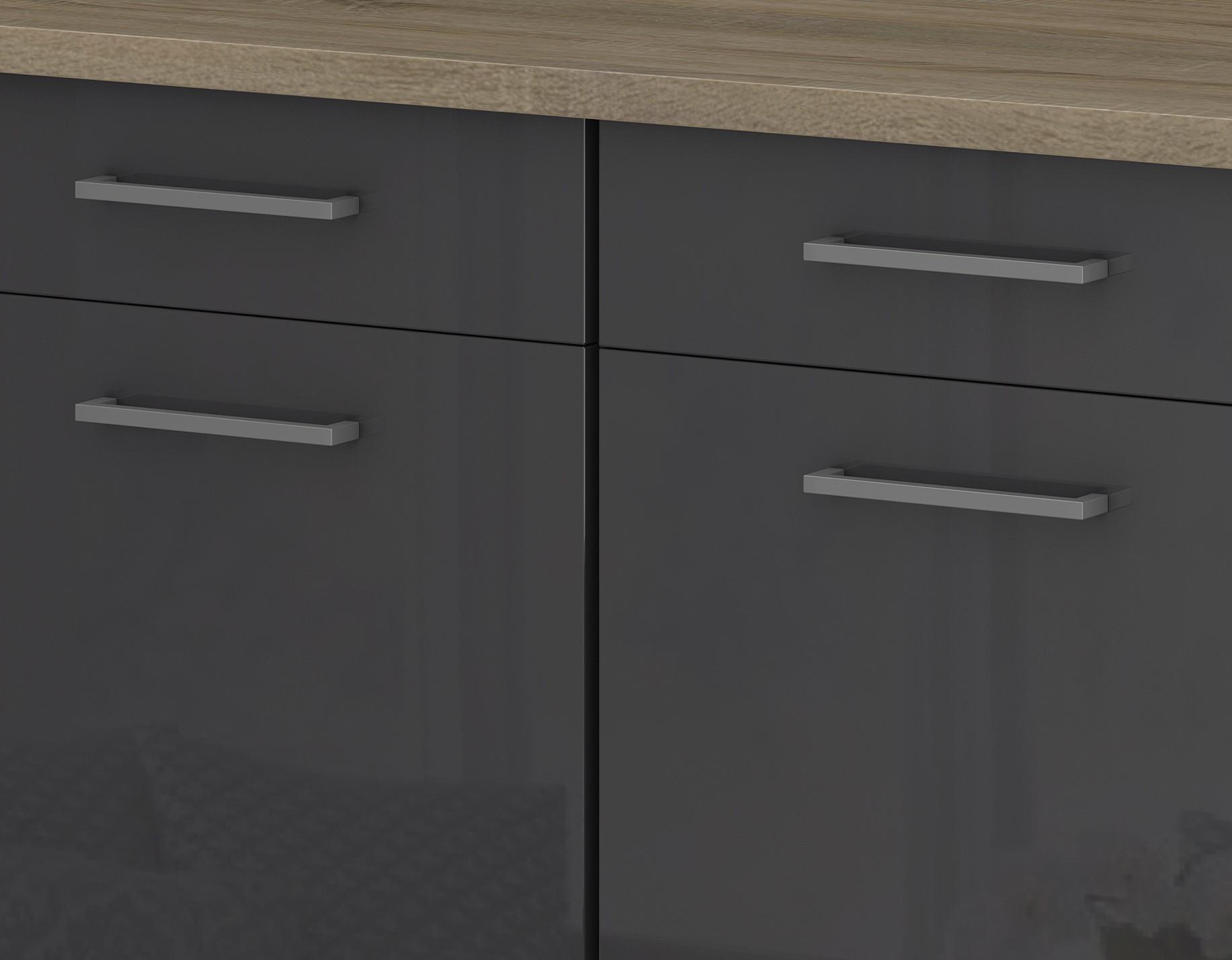 k chen unterschrank m nchen 2 t rig 100 cm breit hochglanz grau graphit k che k chen. Black Bedroom Furniture Sets. Home Design Ideas