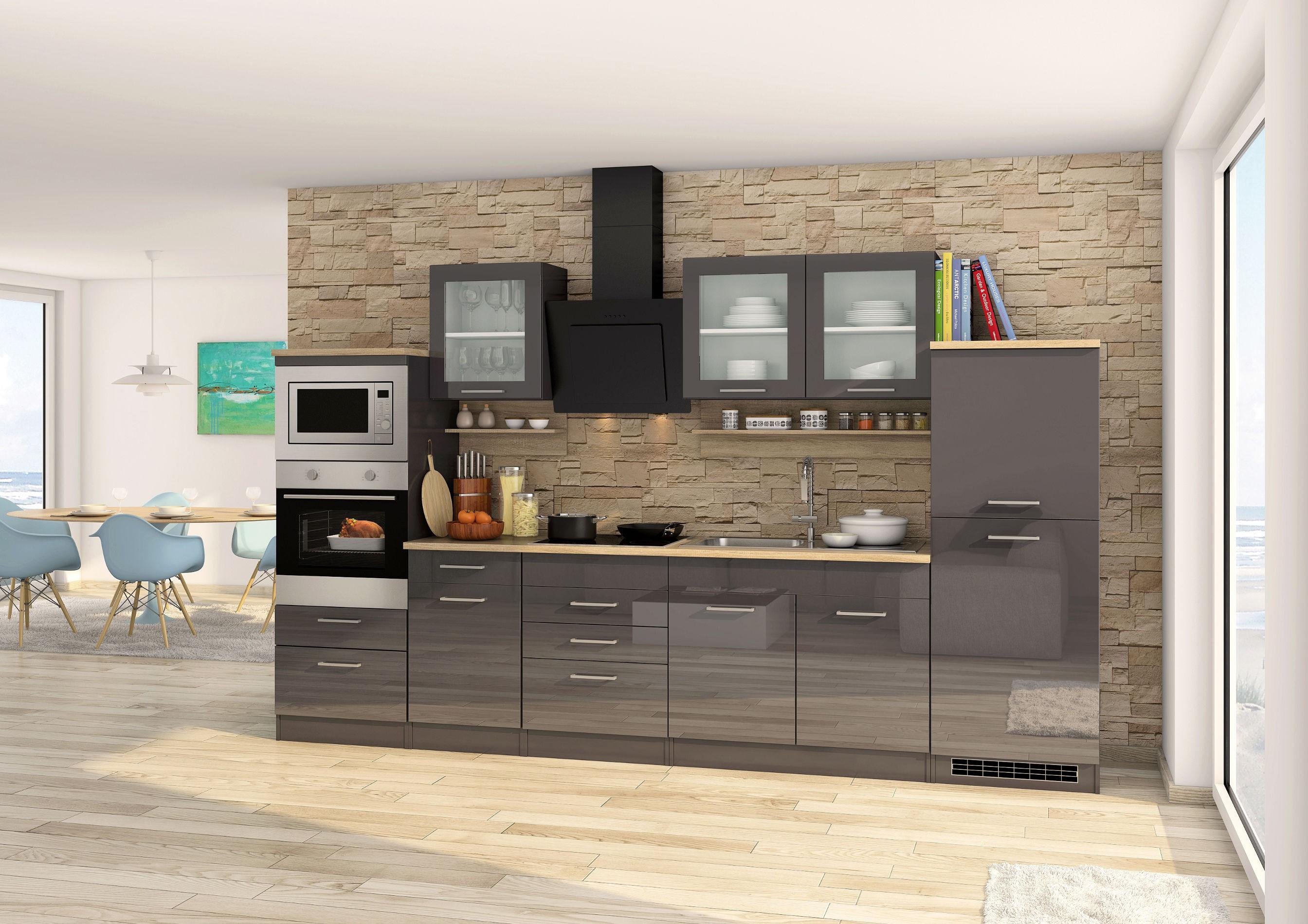 Küchenschrank MÜNCHEN Küchen-Unterschrank mit 2 Türen 100 cm grau ...