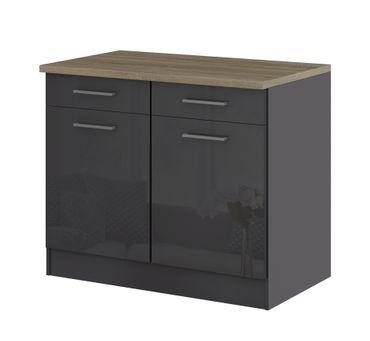Küchen-Unterschrank MÜNCHEN - 2-türig - 100 cm breit - Hochglanz Grau / Graphit