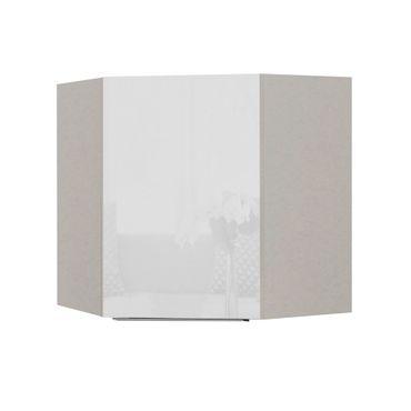 Küchen-Eckhängeschrank HAMBURG - 1-türig - 60 cm breit - Hochglanz Weiß / Weiß