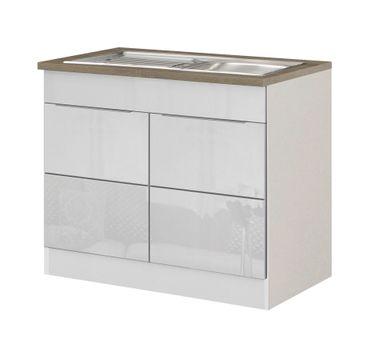 Küchen-Spülenschrank HAMBURG - 2-türig - 100 cm breit - Hochglanz Weiß / Weiß