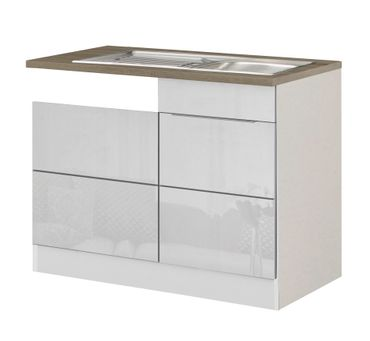Küchen-Spülcenter HAMBURG - 1-türig - 110 cm breit - Hochglanz Weiß / Weiß