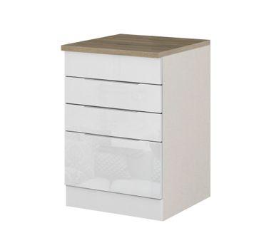 Küchen-Unterschrank HAMBURG - für Kochfeld - 60 cm breit - Hochglanz Weiß / Weiß