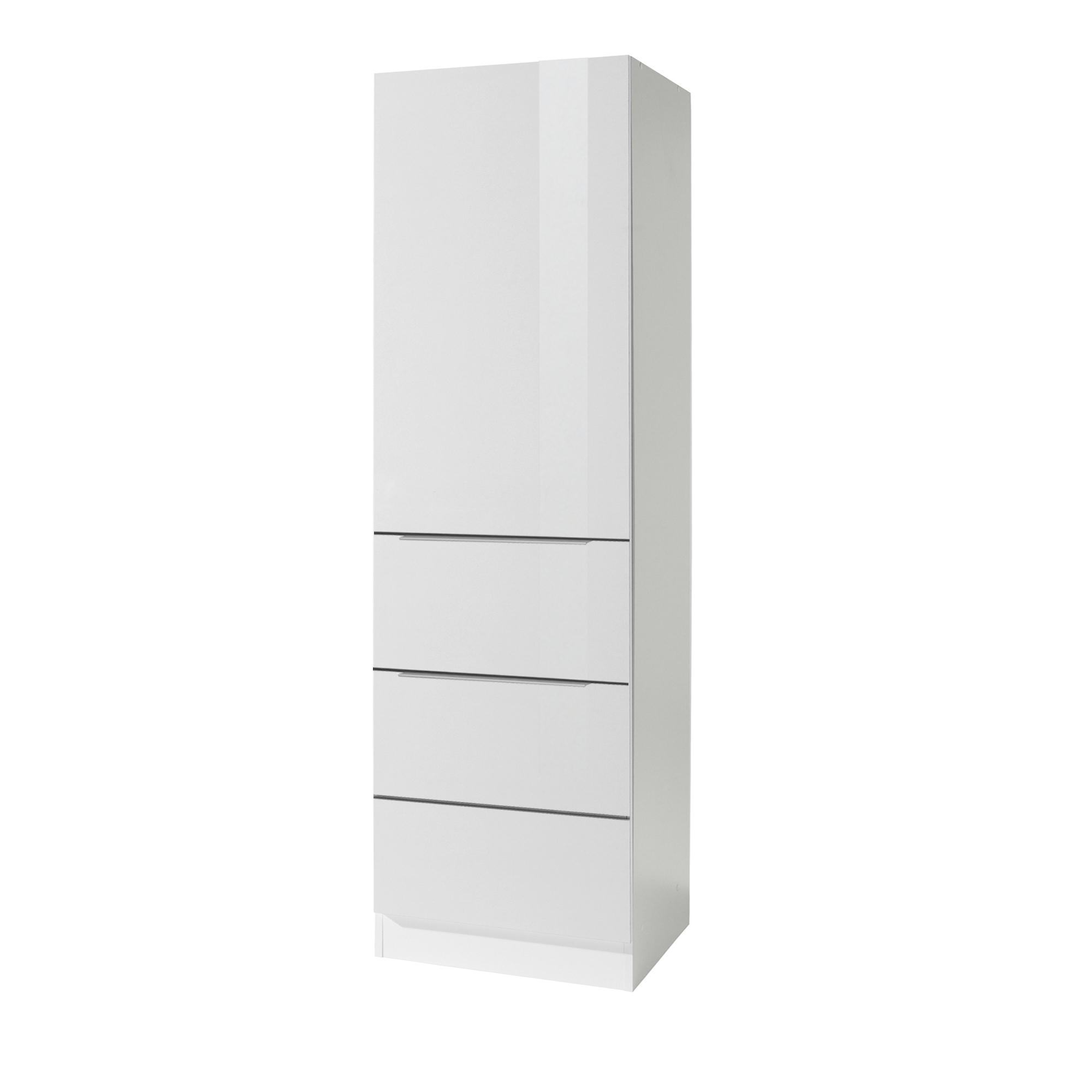 Küchen-Hochschrank HAMBURG - 20-türig - 20 cm breit - Hochglanz Weiß / Weiß