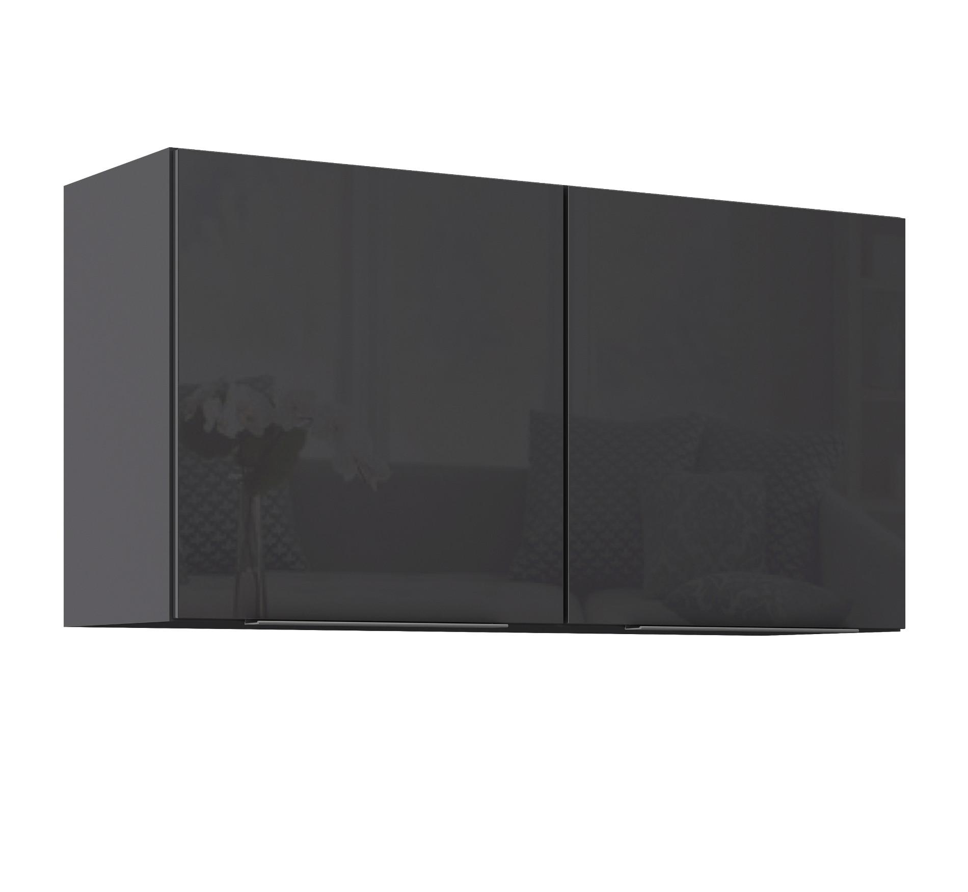 k chen h ngeschrank hamburg 2 t rig breite 100 cm hochglanz grau graphit k che k chen. Black Bedroom Furniture Sets. Home Design Ideas