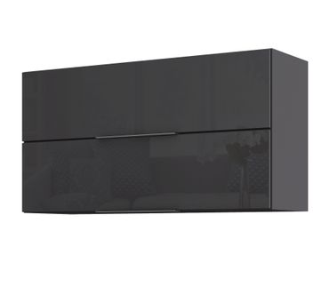 Küchen-Hängeschrank HAMBURG - 2 Klappen - 100 cm breit - Hochglanz Grau