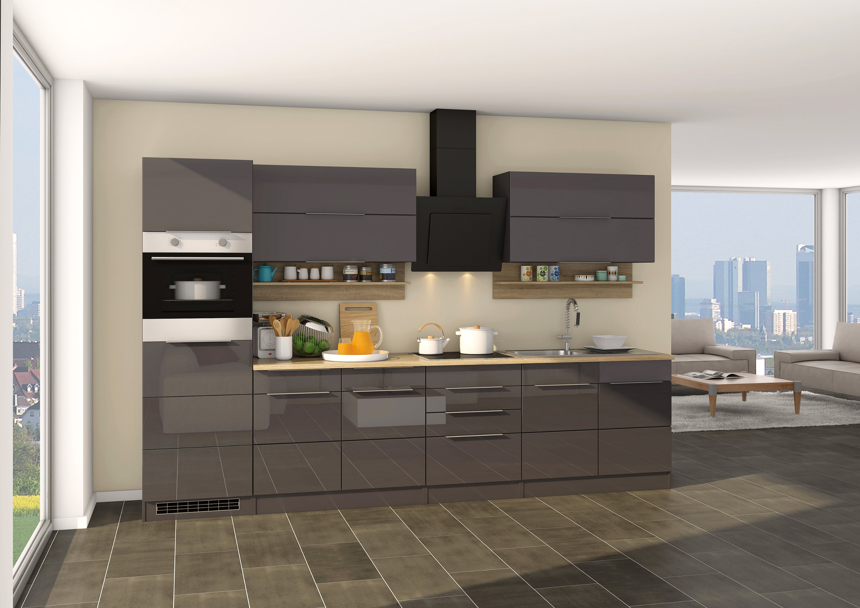 k chen h ngeschrank hamburg 2 klappen 110 cm breit hochglanz grau k che k chen h ngeschr nke. Black Bedroom Furniture Sets. Home Design Ideas
