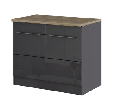 k chen unterschrank hamburg 2 t rig 100 cm breit hochglanz grau graphit k che k chen. Black Bedroom Furniture Sets. Home Design Ideas