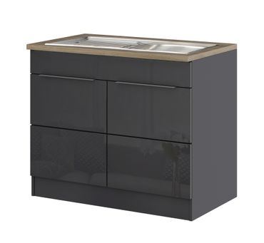 Küchen-Spülenschrank HAMBURG - 2-türig - 100 cm breit - Hochglanz Grau / Graphit