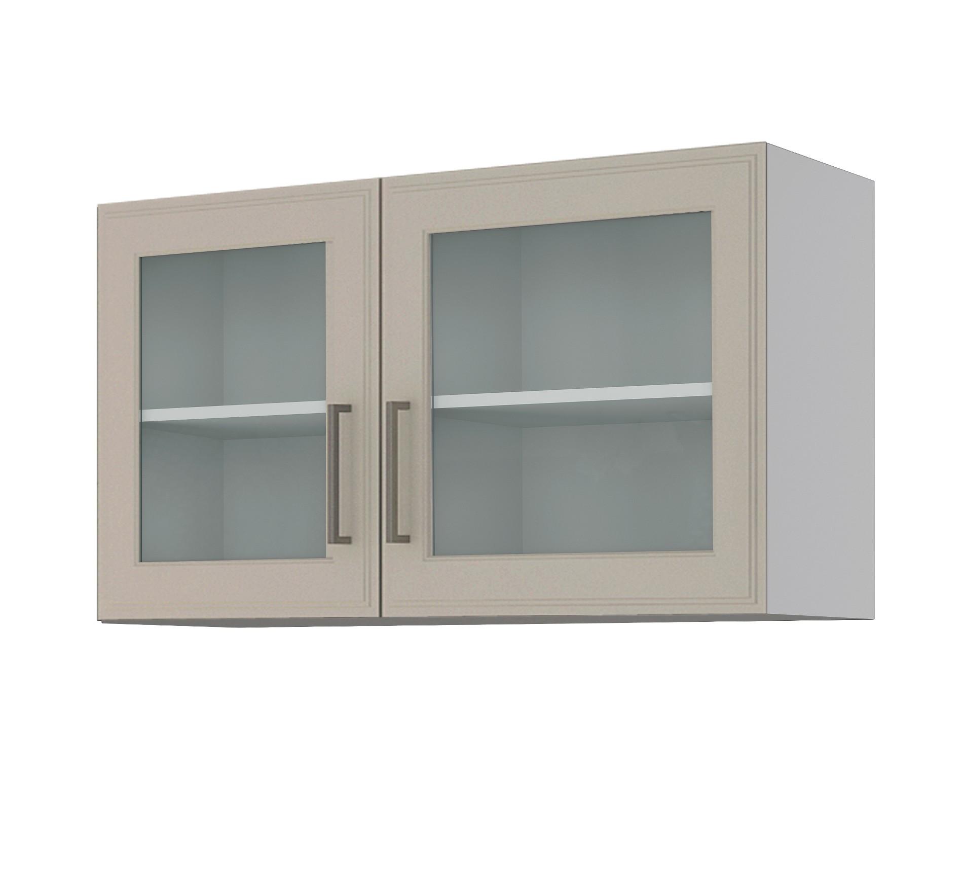 Details zu Glas-Hängeschrank KÖLN Glasschrank Oberschrank mit 10 Glastüren  10 cm weiss