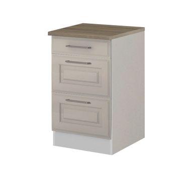 Küchen-Unterschrank KÖLN - 2 Auszüge, 1 Schublade - Weiß