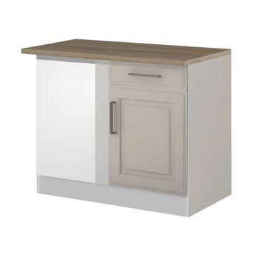 Küchen-Eckunterschrank KÖLN - 1-türig - 110 cm breit - Weiß