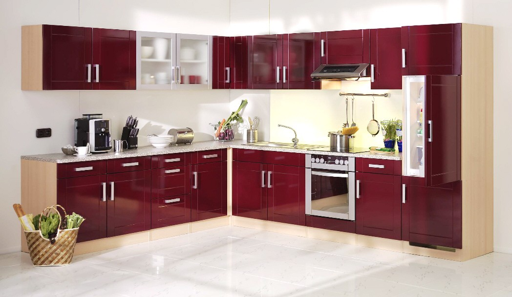 Küchen Kurzhängeschrank VAREL   1 Türig   60 Cm Breit   Hochglanz Bordeaux  Rot