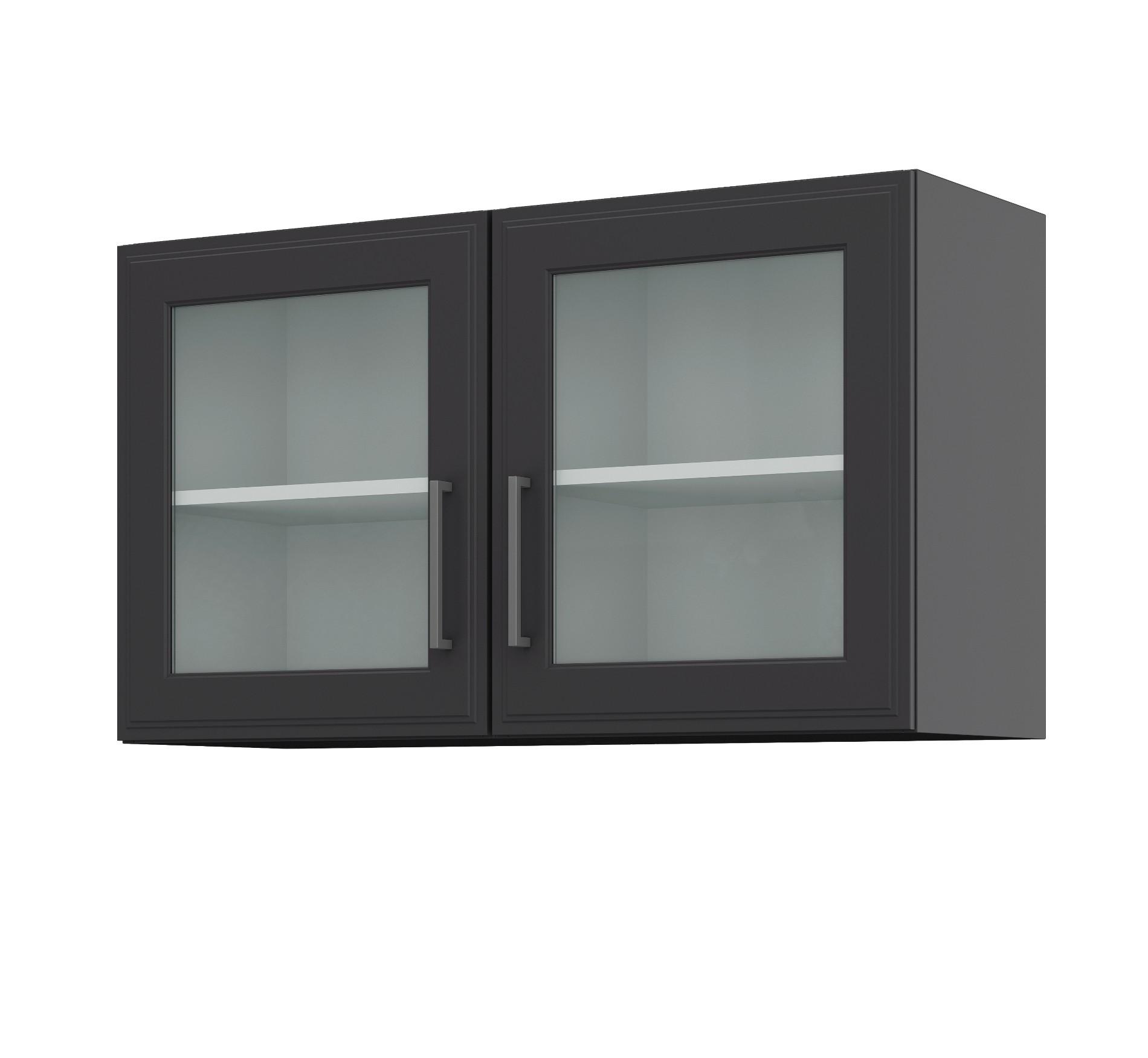 k chen glash ngeschrank k ln 2 t rig breite 100 cm grau graphit k che k chen h ngeschr nke. Black Bedroom Furniture Sets. Home Design Ideas