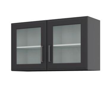Küchen-Glashängeschrank KÖLN - 2-türig - Breite 100 cm - Grau / Graphit