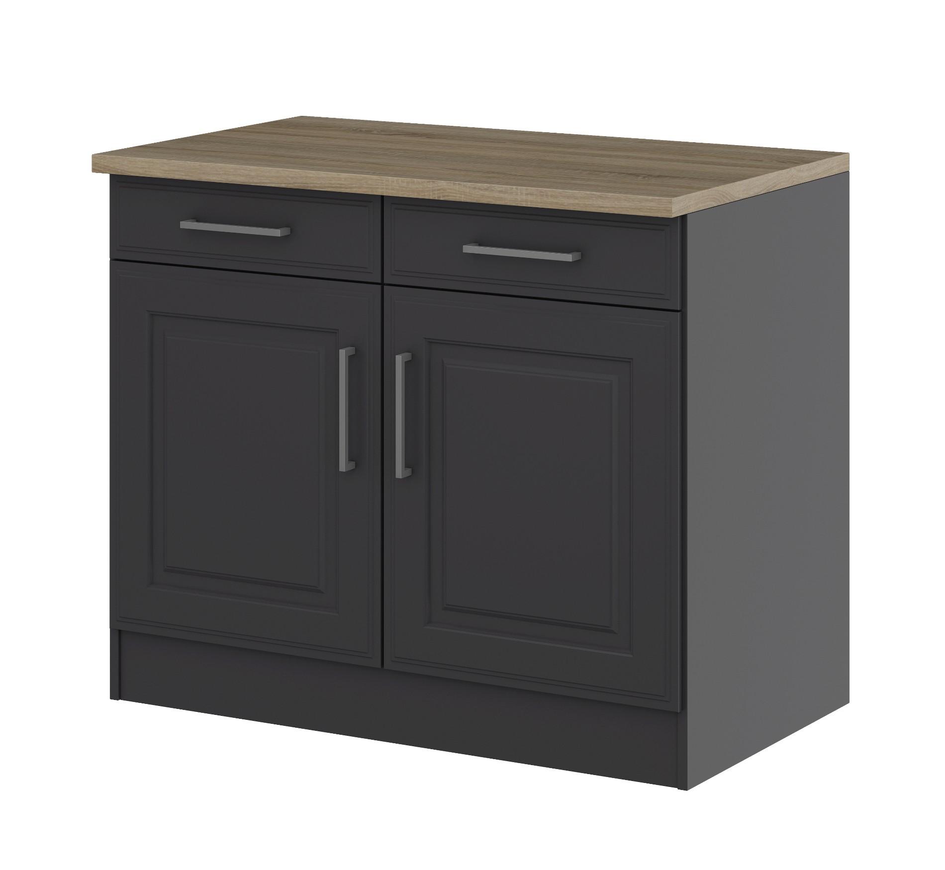 k chen unterschrank k ln 2 t rig 100 cm breit grau graphit k che k chen unterschr nke. Black Bedroom Furniture Sets. Home Design Ideas