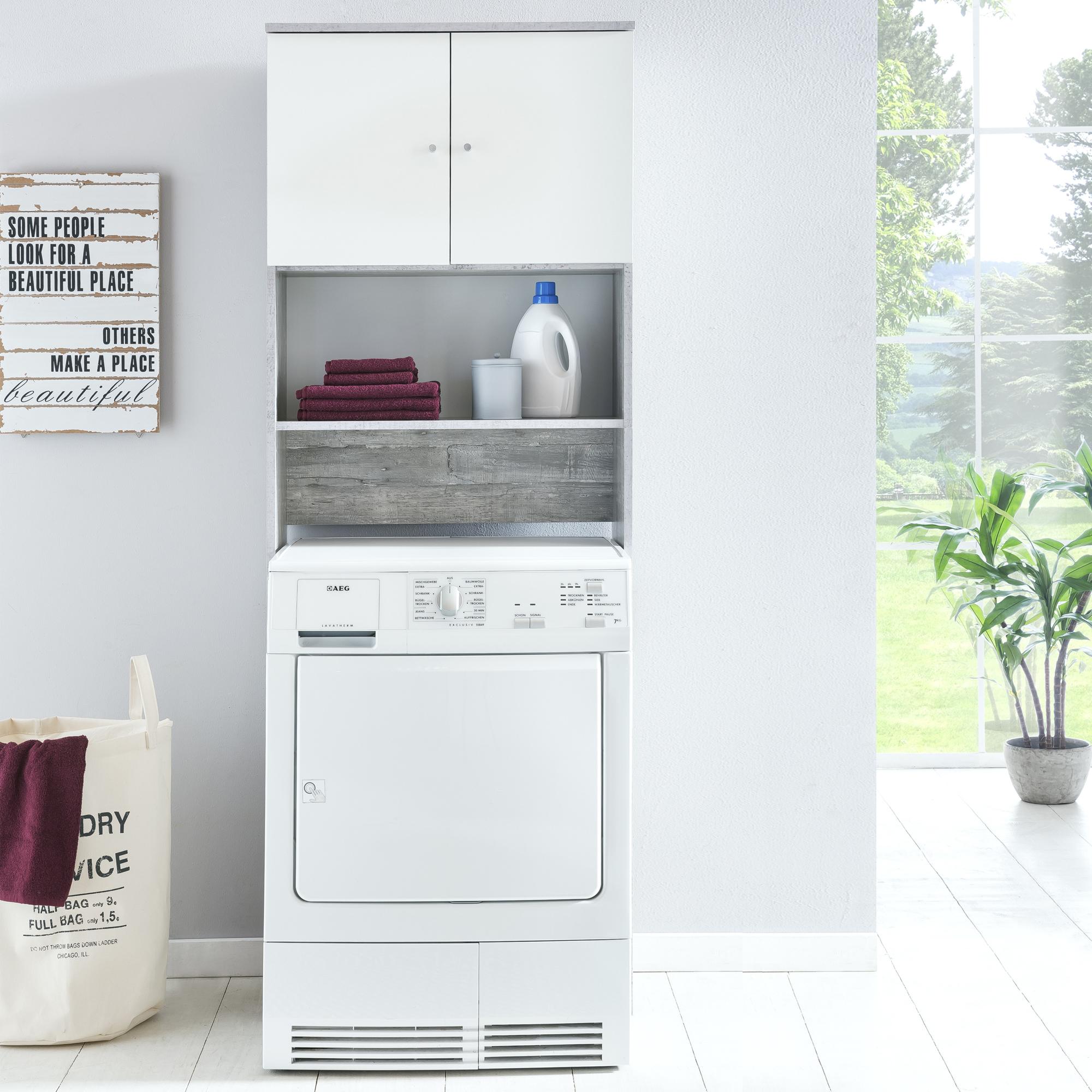waschmaschinenschrank 2 t ren fach schrank f r waschmaschinen umbauschrank 65 cm ebay. Black Bedroom Furniture Sets. Home Design Ideas