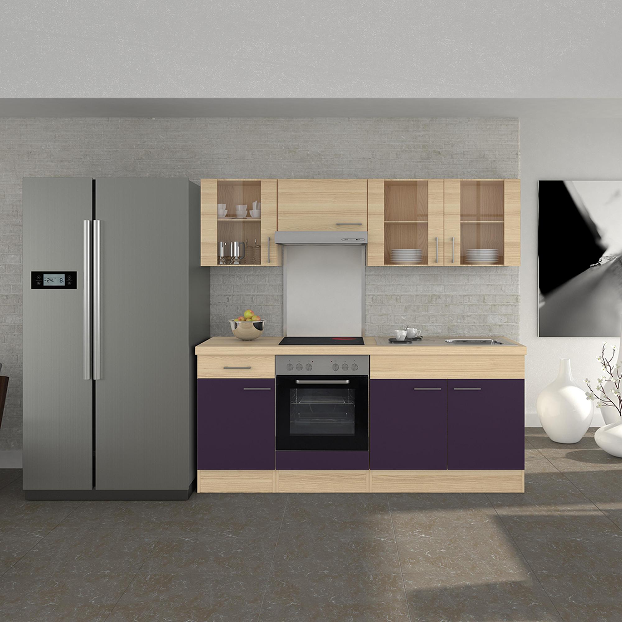 Küchen-Glashängeschrank FOCUS - 2-türig - 100 cm breit - Akazie ...