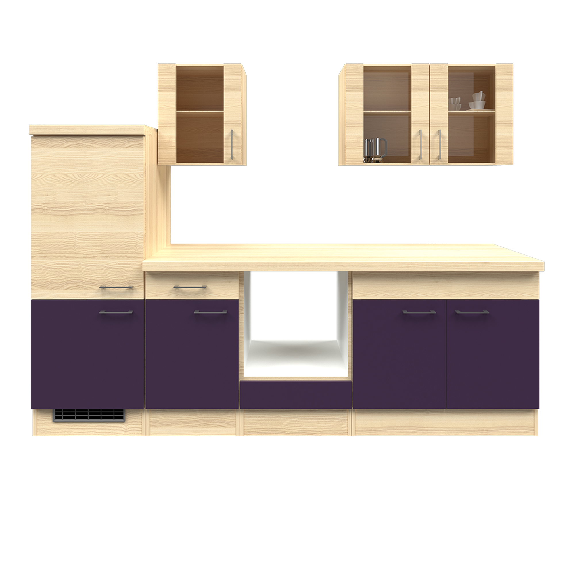 k chenzeile focus k chen leerblock 7 teilig breite 270 cm aubergine k che k chenzeilen. Black Bedroom Furniture Sets. Home Design Ideas