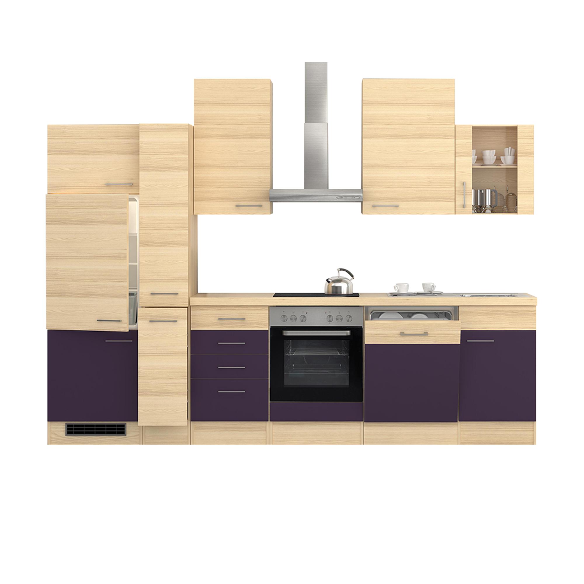 k chenzeile focus e ger te 1 glash nger 15 teilig breite 310 cm aubergine k che k chenzeilen. Black Bedroom Furniture Sets. Home Design Ideas
