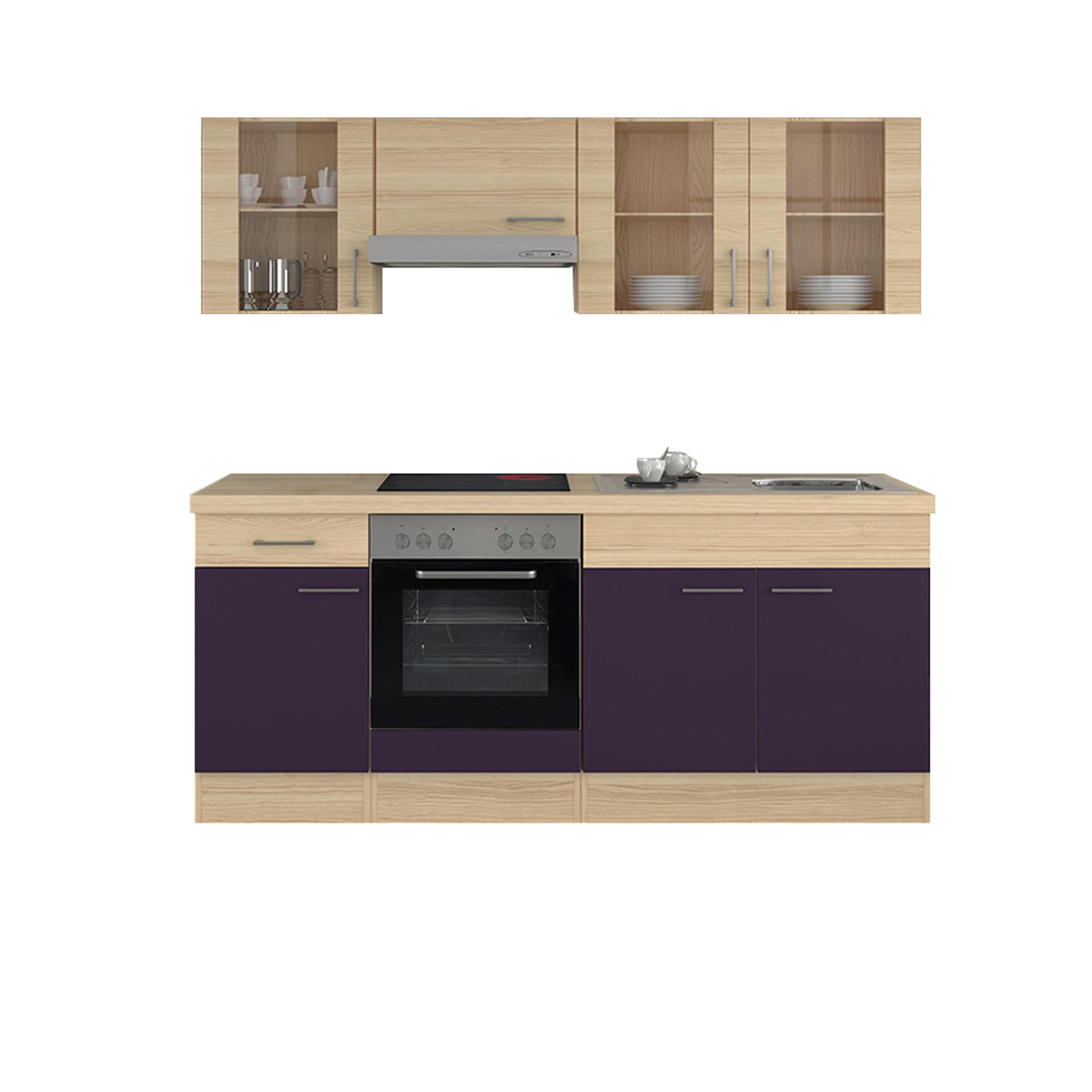 k chenzeile focus mit e ger ten und glash ngeschr nken 210 cm breit aubergine k che k chenzeilen. Black Bedroom Furniture Sets. Home Design Ideas