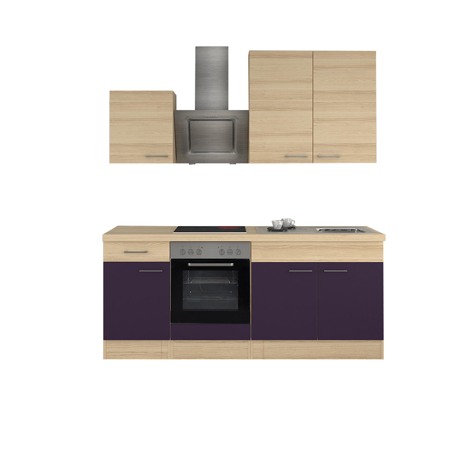 minik che k chenzeile mit elektroger ten einbauk che k chenblock 210cm aubergine ebay. Black Bedroom Furniture Sets. Home Design Ideas