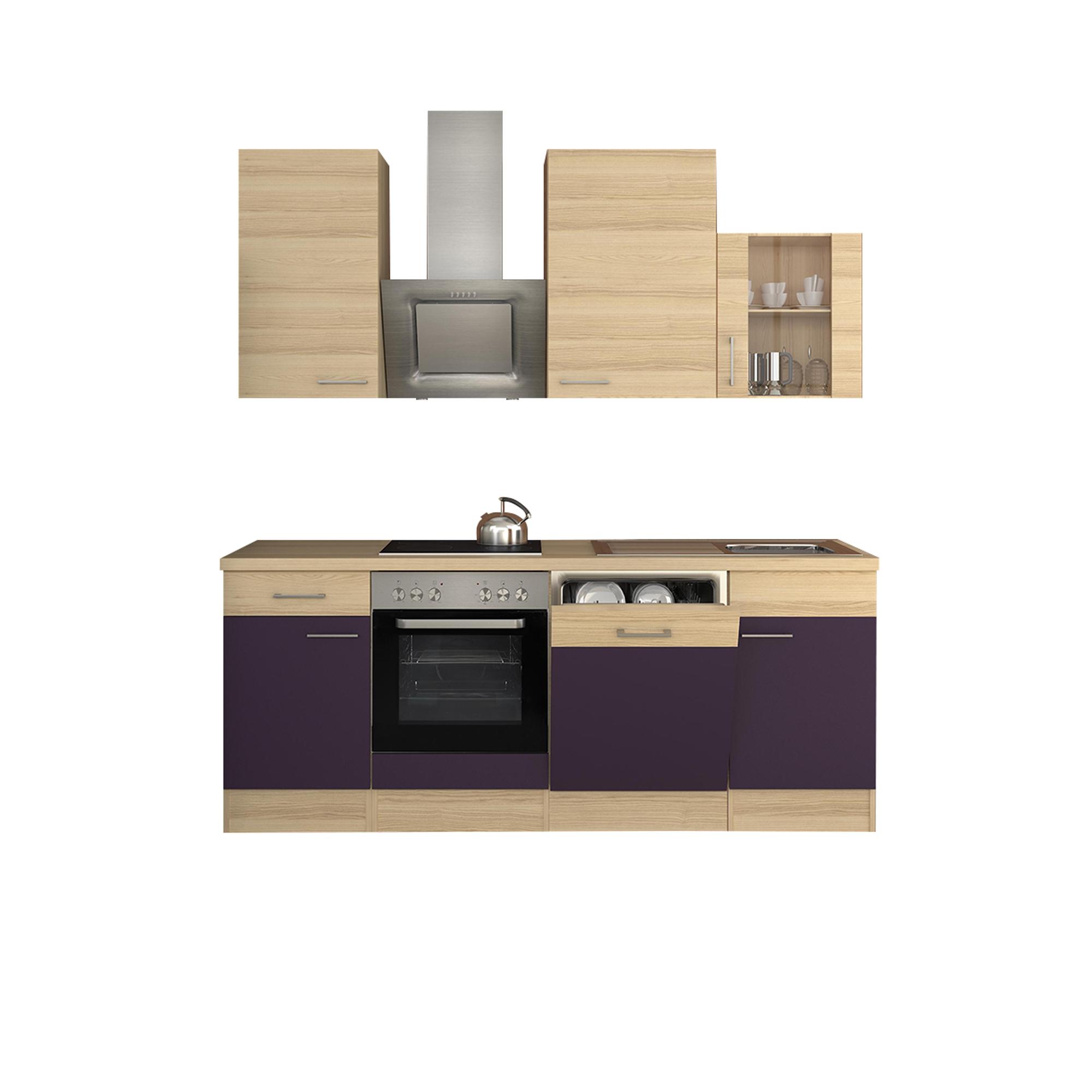 k chenzeile focus mit e ger ten und glash nger breite 220 cm aubergine k che k chenzeilen. Black Bedroom Furniture Sets. Home Design Ideas