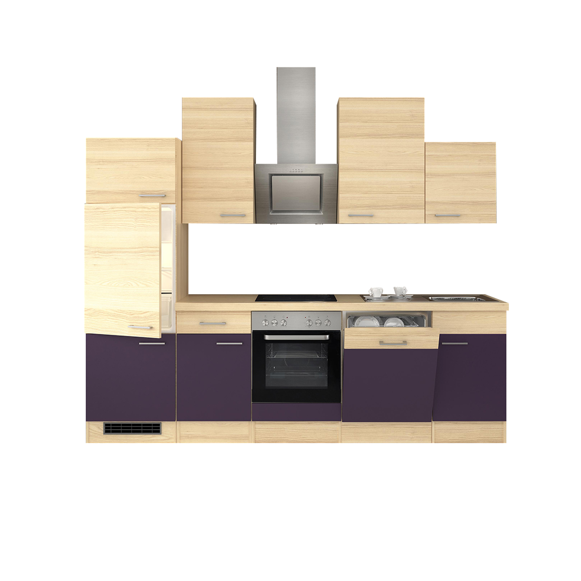 k chenzeile focus k che mit e ger ten 14 teilig breite 280 cm aubergine k che k chenzeilen. Black Bedroom Furniture Sets. Home Design Ideas