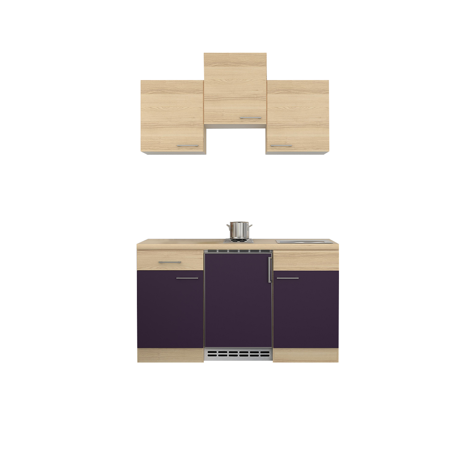 singlek che focus mit elektrokochfeld k hlschrank breite 150 cm aubergine k che singlek chen. Black Bedroom Furniture Sets. Home Design Ideas