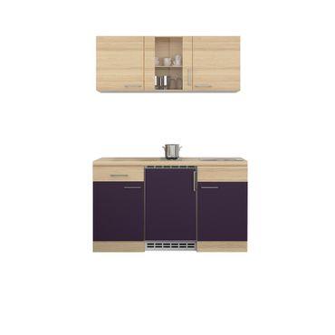 Singleküche FOCUS - 9-teilig, 1 Glashänger - Breite 150 cm - Aubergine
