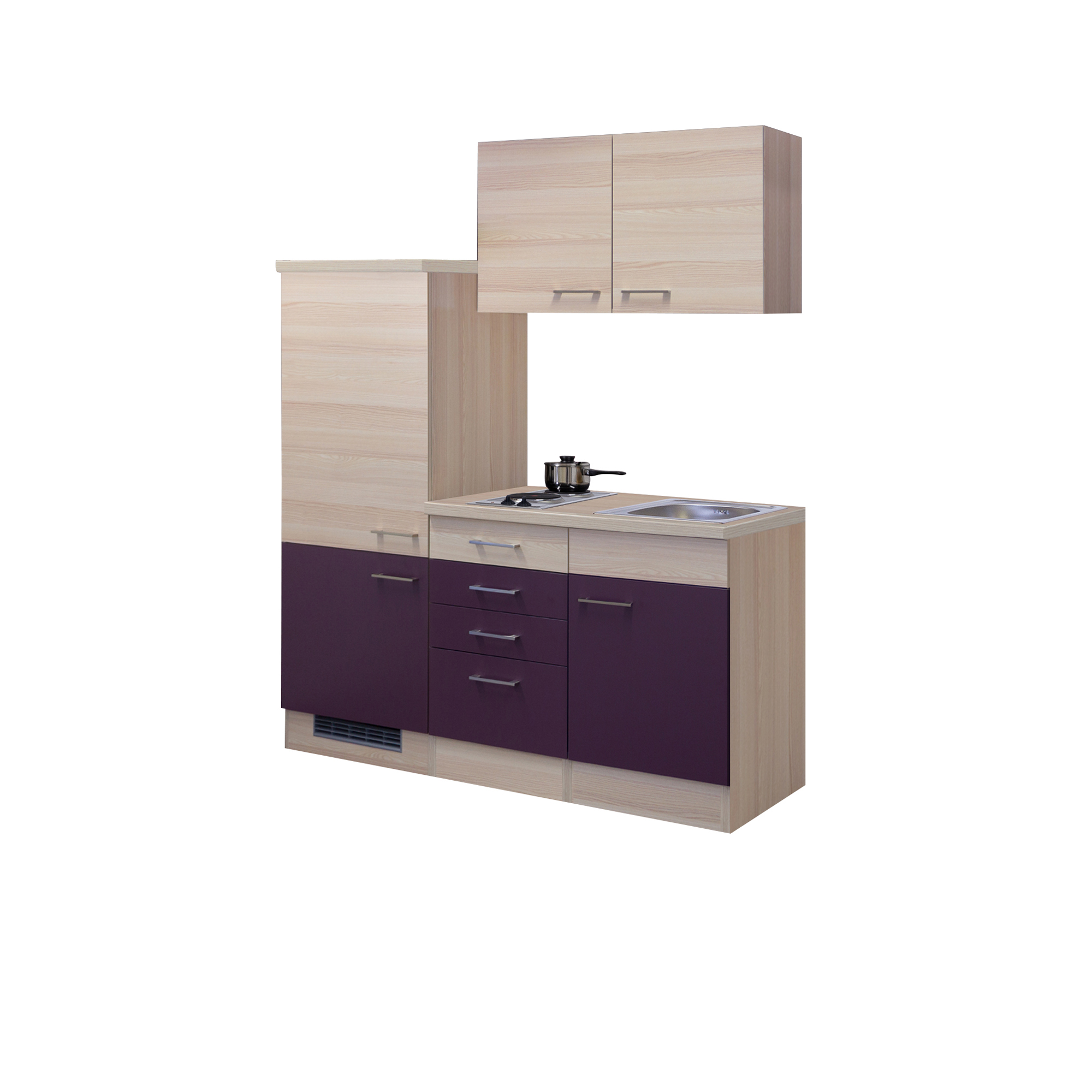 singlek che focus breite 160 cm aubergine k che singlek chen. Black Bedroom Furniture Sets. Home Design Ideas