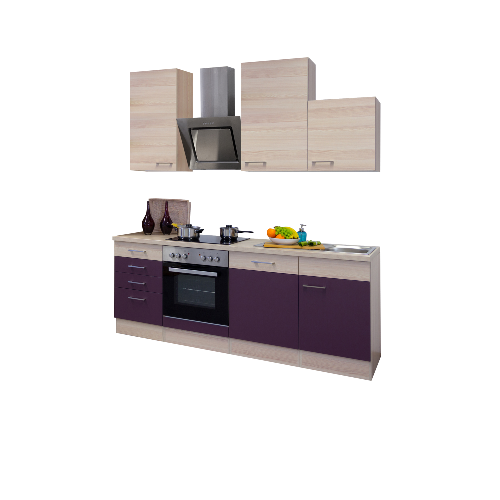 k chenzeile focus k che mit edelstahl abzugshaube breite 220 cm aubergine k che k chenzeilen. Black Bedroom Furniture Sets. Home Design Ideas
