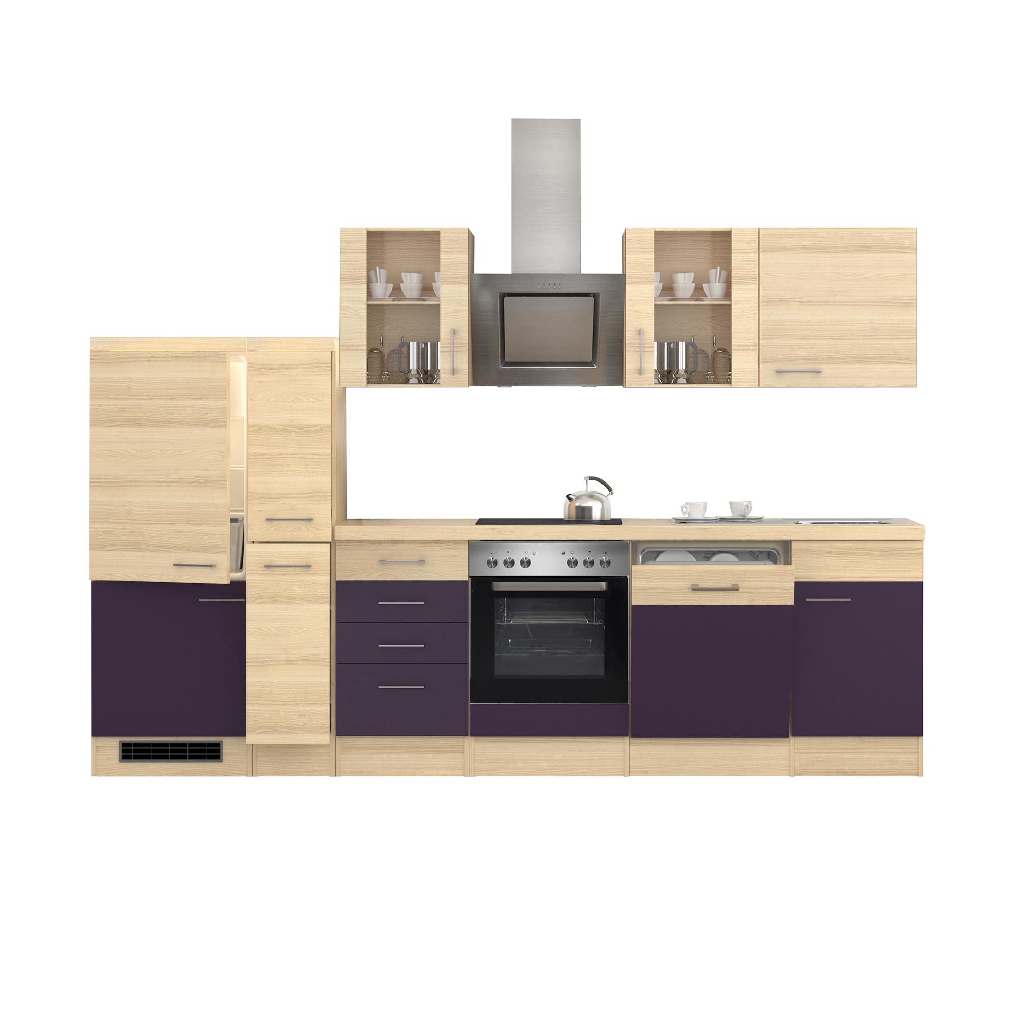 k chenzeile focus e ger te 2 glash nger 15 teilig breite 310 cm aubergine k che k chenzeilen. Black Bedroom Furniture Sets. Home Design Ideas