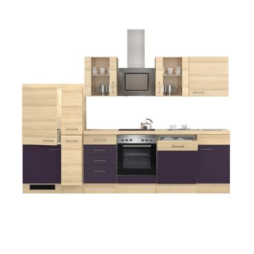 k chenzeile focus e ger te 2 glash nger 15 teilig breite 310 cm aubergine k che k chenzeilen. Black Bedroom Furniture Sets. Home Design Ideas