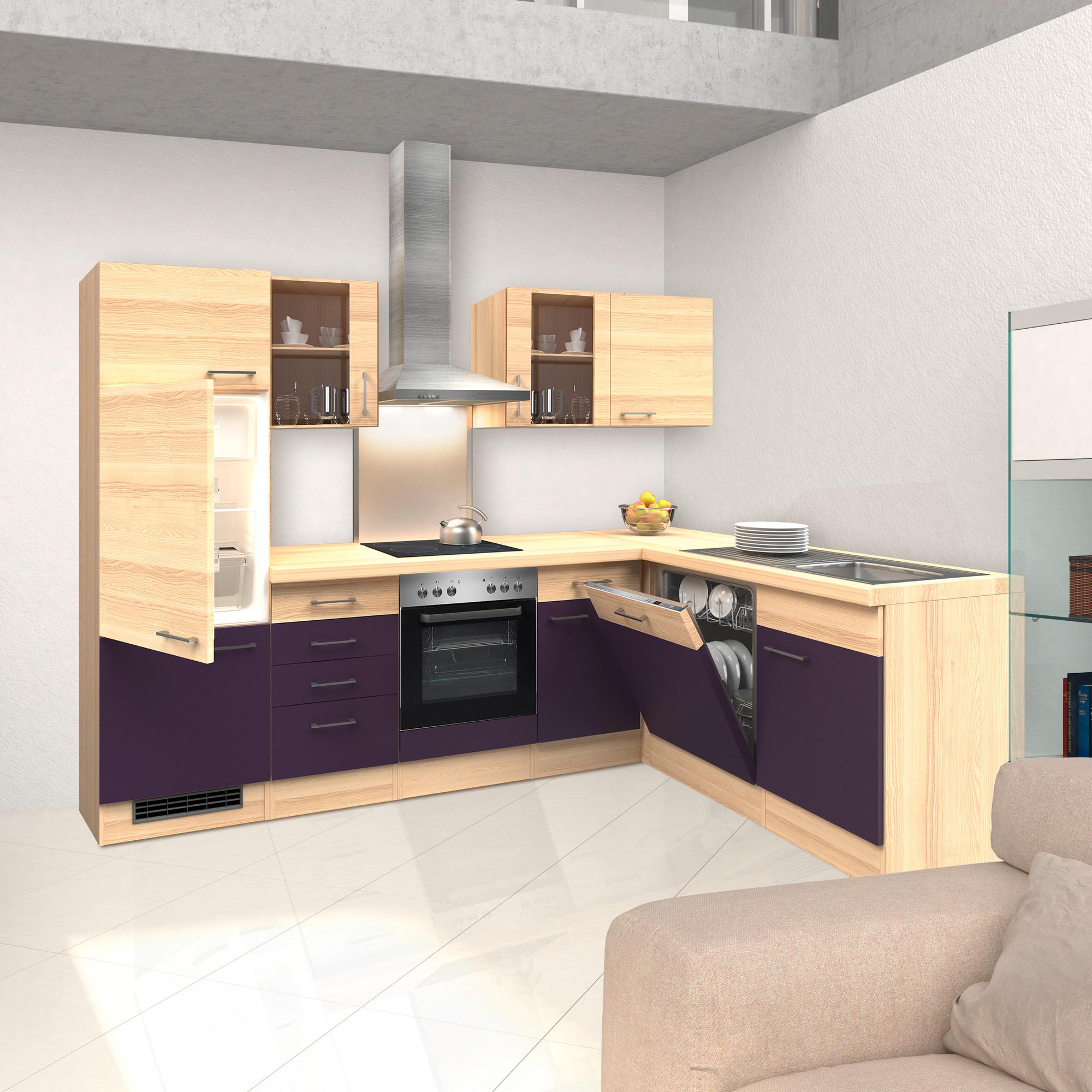 eckk che focus mit e ger ten 2 glash nger breite 280 x 170 cm aubergine k che k chenzeilen. Black Bedroom Furniture Sets. Home Design Ideas