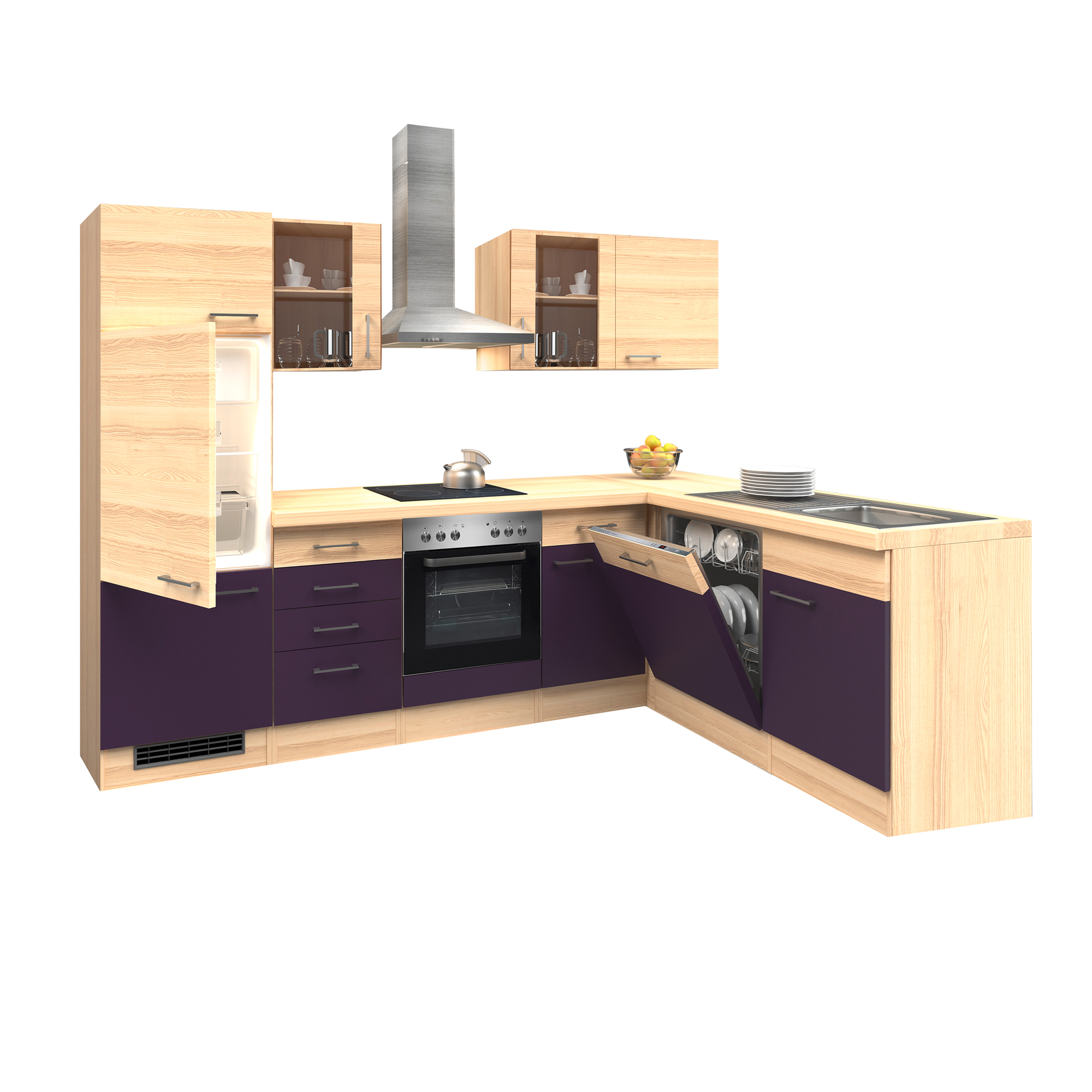 eck k che winkelk che mit ger ten k chenzeile l form. Black Bedroom Furniture Sets. Home Design Ideas