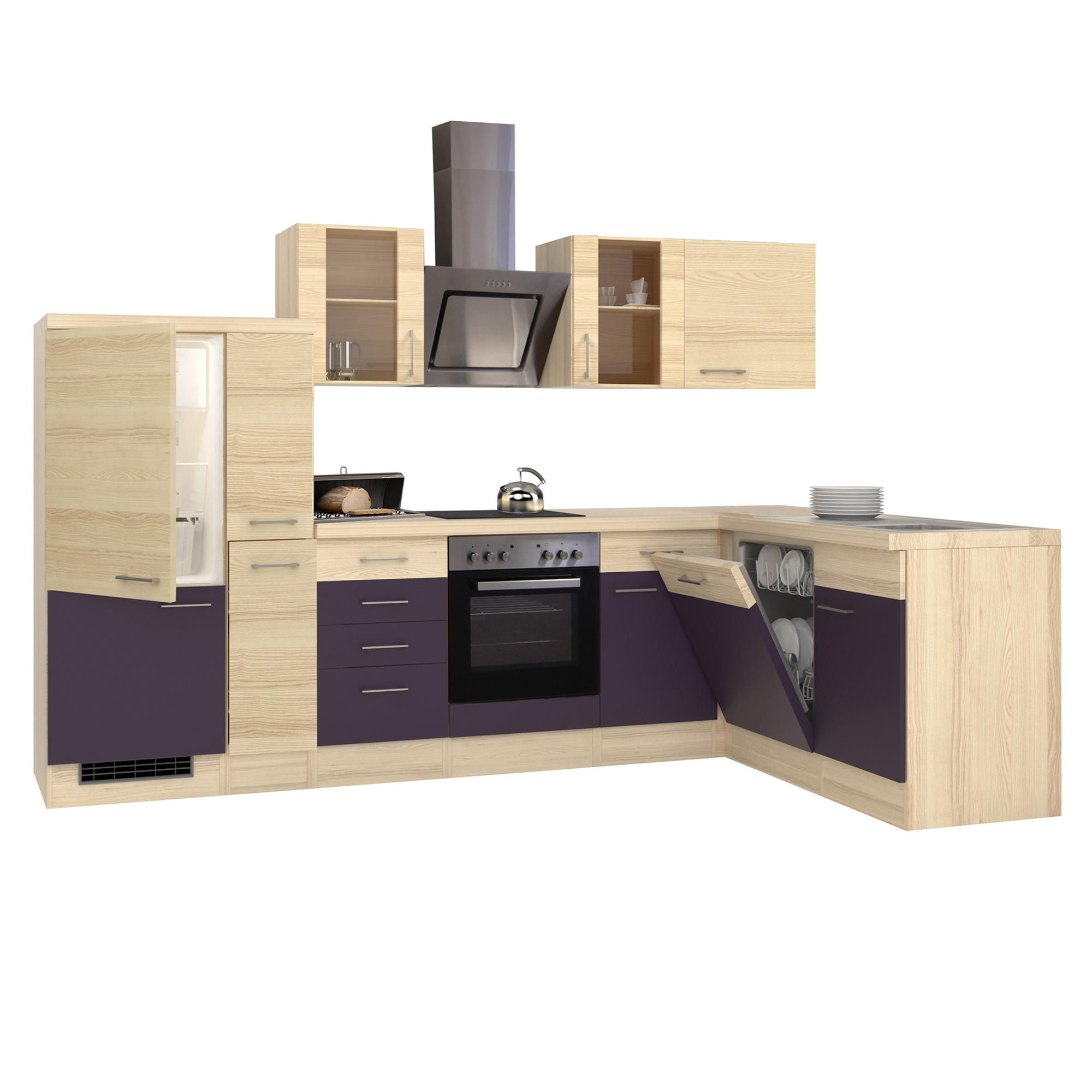 winkelk che mit elektroger ten eck k che k chenzeile l form 310x170 cm aubergine ebay. Black Bedroom Furniture Sets. Home Design Ideas