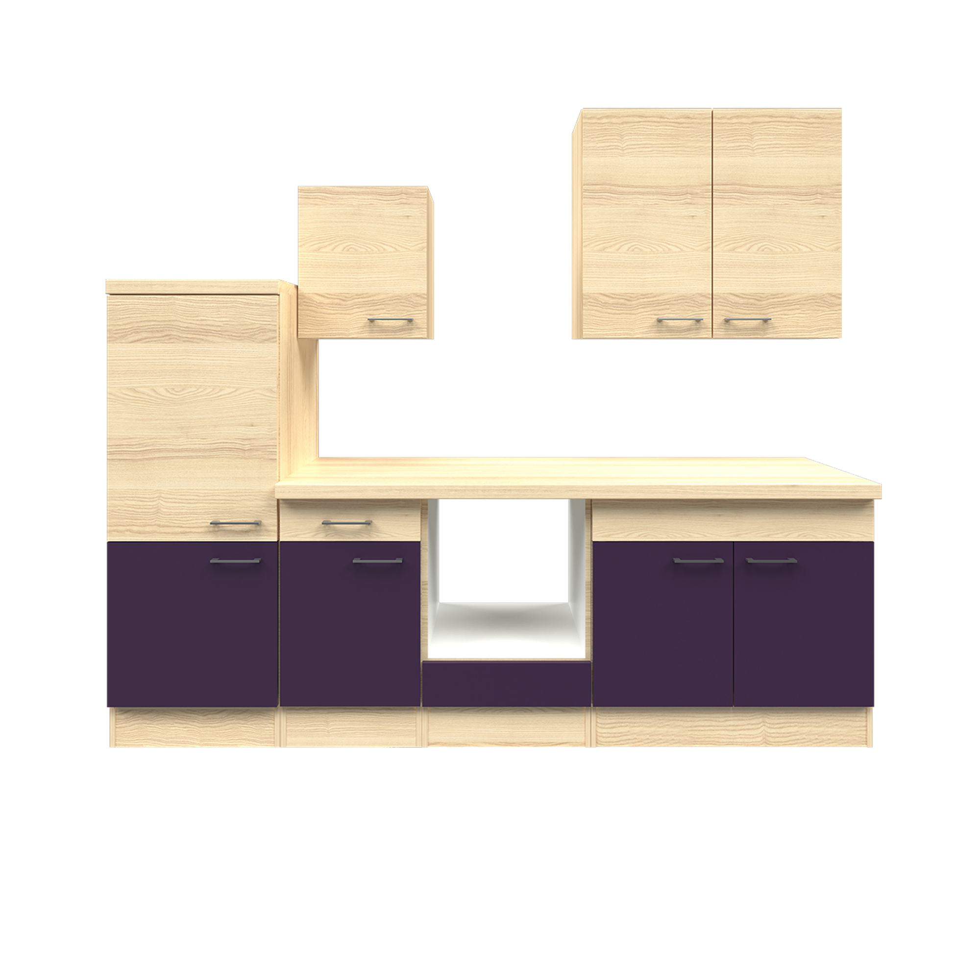 k chenzeile focus leerblock mit midi umbauschrank breite 270 cm aubergine k che k chenzeilen. Black Bedroom Furniture Sets. Home Design Ideas