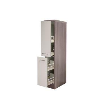 Midi-Apothekerschrank Küche EICO - 2 Front-Auszüge, 4 Schubkästen - Creme