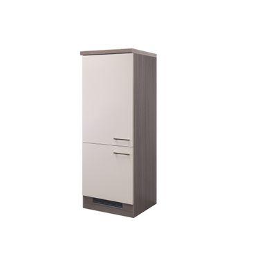 Midi-Kühlschrankumbauschrank Küche EICO - 2türig - 60 cm breit - Creme Samtmatt