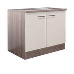 Küchen-Spülenschrank EICO - 2-türig - 100 cm breit - Creme Samtmatt