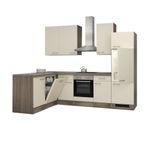 Eckküche EICO - Küche mit E-Geräten - Breite 280 x 170 cm - Creme Samtmatt