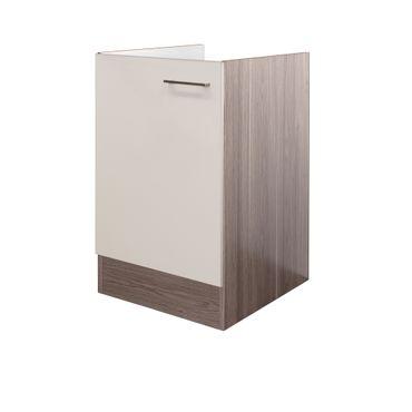 Küchen-Spülenunterschrank EICO - 1-türig - 50 cm breit - Creme Samtmatt