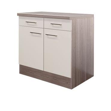 Küchen-Unterschrank EICO - 2-türig - 80 cm breit - Creme Samtmatt