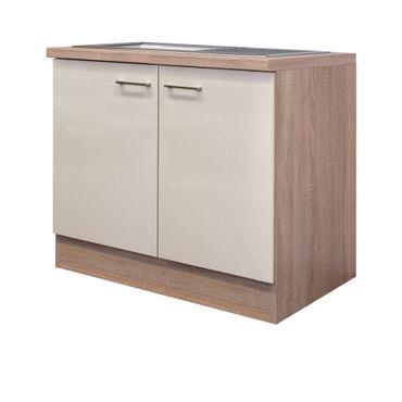 Küchen-Spülenschrank NEPAL - 2-türig - 100 cm breit - Creme glänzend
